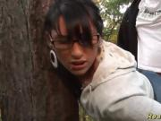 Dirty Chick Gets Plowed Against A Tree In The Woods
