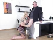 Innocent schoolgirl was tempted and rode by her older teacher