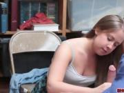 Cute shoplifter Brooke Bliss fucks for freedo