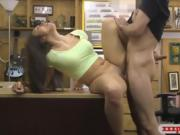 Amateur brunette babe boned by pawn guy at the pawnshop