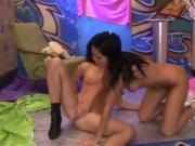 Hairy lesbian sex Hairy Kim and shaved Janet