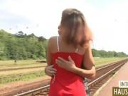 Nice Blonde Cutie Getting Drilled On The Train Tracks