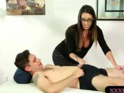 Busty masseuse Dava Foxx gets fucked on massage table