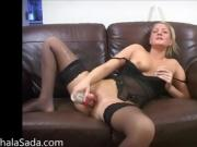 Blonde Masturbates On Casting Couch With Dildo