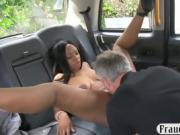 Ebony pounded by drivers big white cock in the backseat