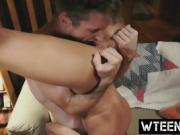 Petite tattooed ebony lifting hardcore pussy licking