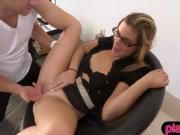 Geek blonde teen with glasses fucks with strangers for money
