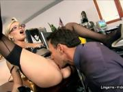Donna Bell On Her Knees Blowing Her Mans Cock