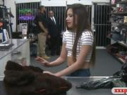 Cutie sells her fur coat and gets boned at the pawnshop