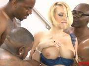 Busty blonde assfuck by big black cocks