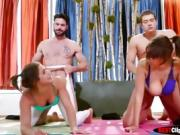 Abella Danger and Cassidy Banks in yoga perv class