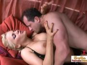 Short Haired Blonde By Red Curtains Gets Fucked By Two Guys