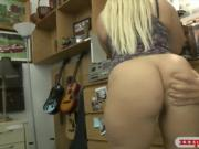 Big butt blonde babe banged by pawn guy in his office