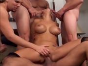 Blonde Girl Takes On Multiple Cocks In Gangbang