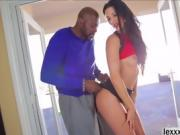 Slender babe Alexa Tomas worships a big black cock