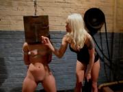 Brunette Tied Up Girl Gets Strapon Fucked By Blonde