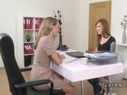 Tattooed arms redhead licks female agent