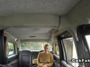 Tall busty blonde anal banged in fake taxi