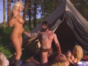 An intense and passionate outdoor three way sex action