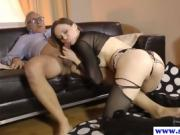 brunette girl sucks and fucks old dude