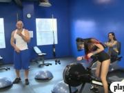 Hot girls show off tits and ass in the gym for cash