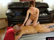 Cute masseuse pounded by her bald client after massage