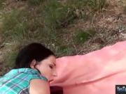 Cutie GF assfuck while having a picnic