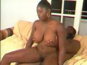Chubby ebony diva is unimpressed with her mans pleasing