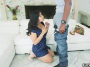 Asian babe Mia Li gags on enormous black cock