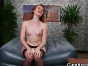 Hot peach gets cumshot on her face swallowing all the ejacula