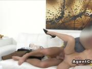 Brunette in shoes fucks in casting