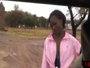 Slutty ebony sucks cock in the jeep