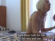 Policeman fucks slim blonde in stockings