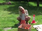 Pierced Teen Tries To Fuck Herself With A Traffic Cone