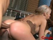 Hot blonde babe all holes screwed hard by black boners