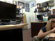Cute amateur blonde babe with glasses boned by pawn guy