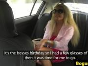 Blonde babe in sunglasses in a van sucks the driver's cock