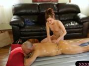 Teen masseuse gives massage and screwed by her client