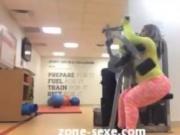 Big black ass running in Gym
