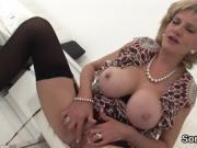 Unfaithful english milf lady sonia showcases her giant boobs