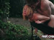Blonde babe Raylin Ann roughly fucked in park by stranger