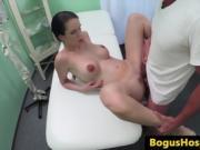 Hot Brunette Gets Delivered The Meat On The Massage Table