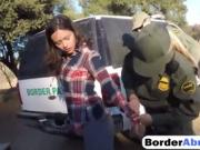 Border patrol threesome with immigrant