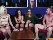 Euro CFNM femdom edging blokes throbbing cock