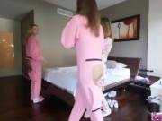 Morning Hardcore fun in the ladies dorm with pretty teens
