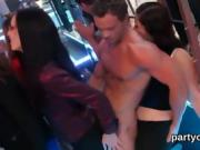 Flirty girls get completely insane and stripped at hardcore p