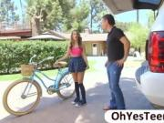 Teen biker Kimmy stops over for wild sex