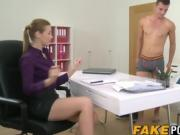 Handsome stud bangs super hot female agent on sex casting