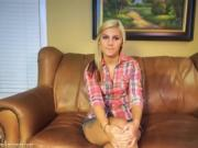 Casting Couch Cowgirl Blonde Plays With A Vibrator
