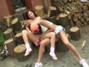 Teen isabel Cutting wood and slurping pussy